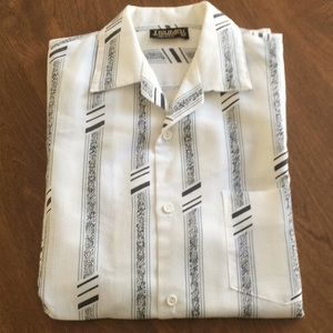 Vintage White Black Abstract Print Shirt M